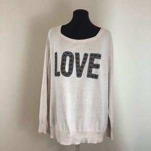 "Torrid Scoop neck Cream  ""Love"" Sweater Size 1"